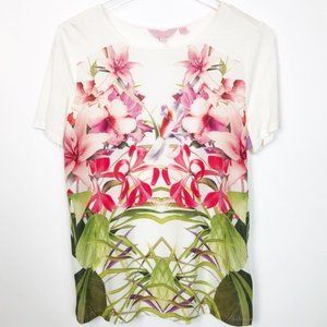 White Renella Mirrored Floral Tee Short Sleeve